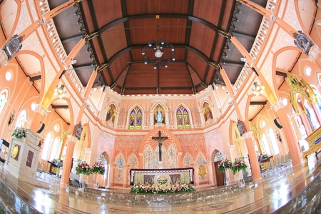 mary mother of jesus: The interiors of Catholic church Maephra Patisonti Niramon is located in Chantaburi province Thailand at March 282015.This building was built with French Style