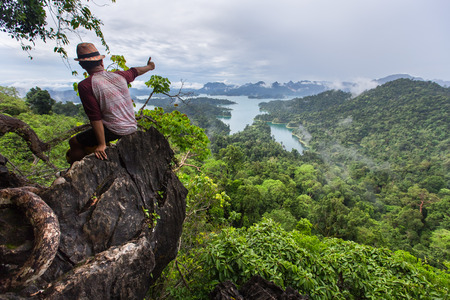 tarzan: SURAT THANI THAILAND MAY 26 2015 : Tarzan View Point at in Ratchaprapha Dam at Khao Sok National Park Surat Thani Province Thailand.