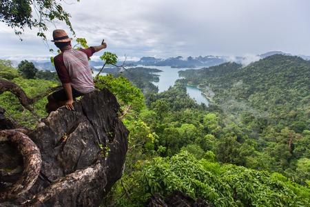 surat: SURAT THANI THAILAND MAY 26 2015 : Tarzan View Point at in Ratchaprapha Dam at Khao Sok National Park Surat Thani Province Thailand.