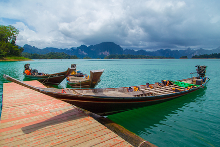 sok: Beautiful mountains and river natural attractions in Ratchaprapha Dam at Khao Sok National Park Surat Thani Province Thailand. Editorial