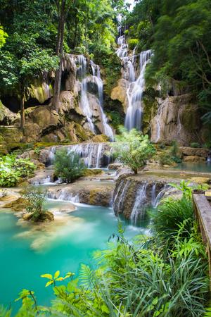 waterfall river: Kuang Si waterfall Luang Prabang. Laos Stock Photo