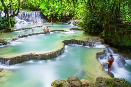 Kuang Si Watervallen, Luang Phrabang, Laos. Stockfoto