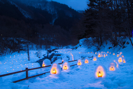 1 月下旬から 3 月中旬 1 月 25 日 2014 年 3 月 9 日に、湯西川かまくら祭り」が開催されます栃木、日本 - 2014 年 3 月 2 日。 写真素材