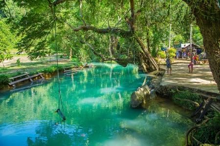 blue lagoon: Blue Lagoon in Vang Vieng, Laos Stock Photo