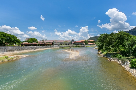 nam: Nam Song river at Vang Vieng, Laos Stock Photo