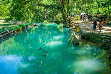 blue lagoon: Blue Lagoon in Vang Vieng, Laos Editoriali