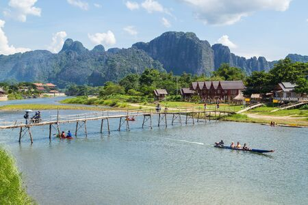 nam: Nam Song river at Vang Vieng, Laos Editorial
