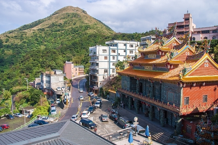 jiufen: TAIPEI, TAIWAN - JANUARY 19, 2013 : Temple at Jiufen, Ruifang, Taiwan on January 19, 2013. Jiufen is a popular tourist destination for shopping as filmed in City of Sadness and Spirited