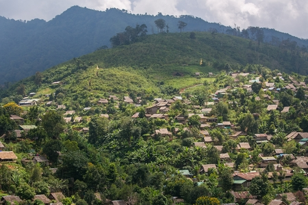 Het dorp van de heuvelstam in umphang, Tak, Noordelijk Thailand Stockfoto