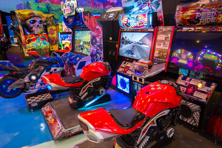 BANGKOK, THAILAND - OCTOBER 1, 2016 : game machines at the Hero city at the MBK Center, a shopping mall. Bangkok is one of the worlds top tourist destination cities.