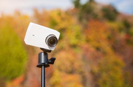 Action camera on a selfie stick