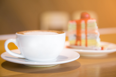 breackfast: coffee cup at cake