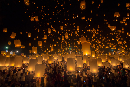 Yee Peng Festival of the Thai people to do in Loy Kratong Festival. An old tradition in Thailand.