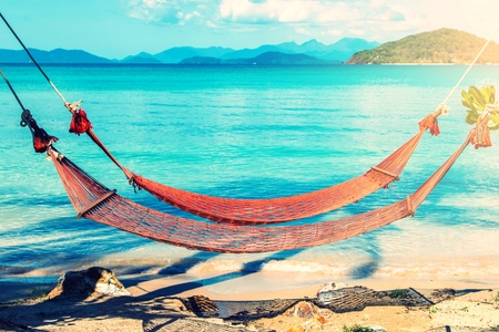 trat: Tropical Palm Trees and Hammock at Trat in Thailand Summer