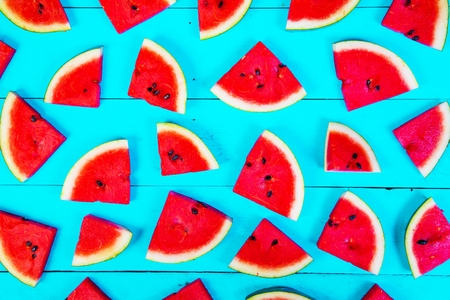 Watermelon on wood background Stock Photo