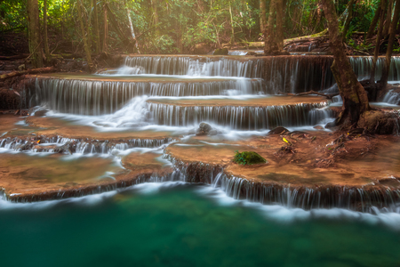 Thailand waterfall in Kanjanaburi Huay Mae Kamin Stock Photo