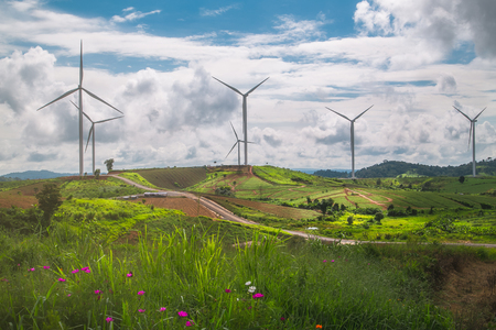 Green rice field on mountain with wind turbine at Khao Kho in Phetchabun, Thailand Banque d'images