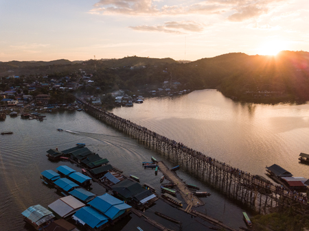 The old wooden bridge in Sangklaburi, Kanchanaburi Province, Thailand