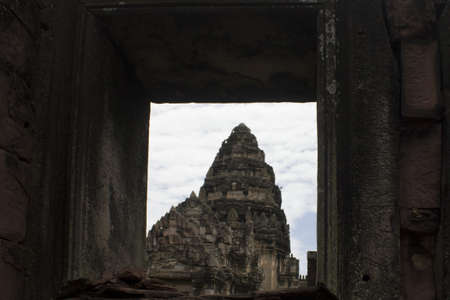 korat: Pimai ancient temple in Korat, Thailand.  Stock Photo