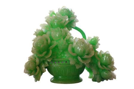 Blumen aus Jade über einem weißen Hintergrund isoliert Standard-Bild