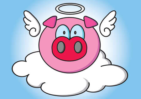 pig with wings: angel pig Illustration