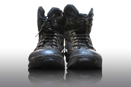 Old and dirty military boots  photo