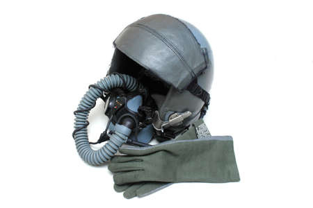 Aircraft helmet or Flight helmet with oxygen mask and glove photo