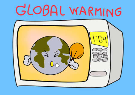 Cartoon Illustration of the earth threatened by global warming Vector