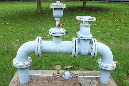 are thrust: old rusty country water supply system