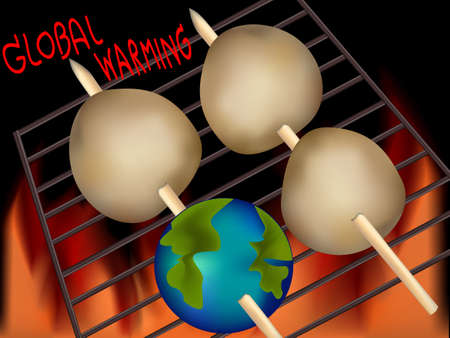 gas barbecue: Cartoon Illustration of the earth threatened by global warming