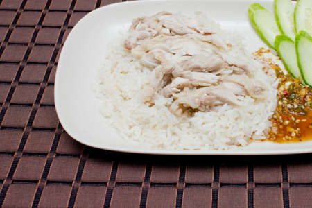 rice steamed with chicken at Thailand  Stock Photo