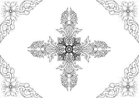 fine lines: Thai pattern can be apply for tattoo ,pattern or background Illustration
