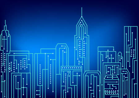 Kunst von elektrischen Schaltungsentwurf, Newyork Stadt Illustration