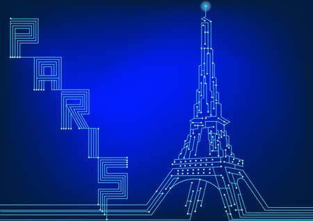 Art of electrical circuit design , Eiffel Paris Stock Vector - 17989126
