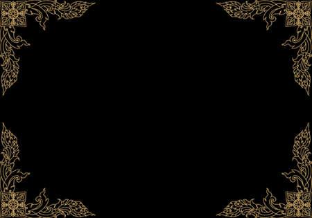 Gold braid of Thai pattern on black background