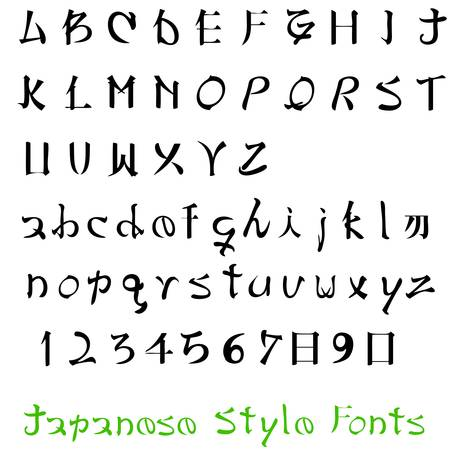 2addeaea36 Alphabet Letters Of The Alphabet Japanese Style Royalty Free Cliparts
