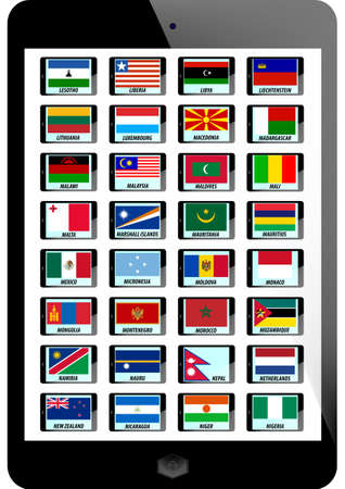 set of nation flag on teblet background Vector