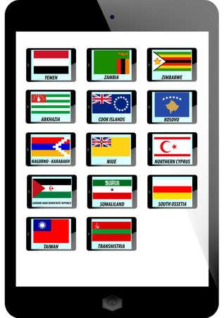 somaliland: set of nation flag on teblet background Illustration