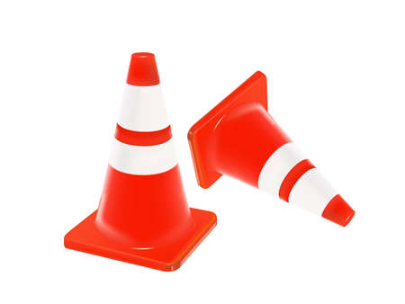 Vector illustration of traffic cone isolate on white Vector