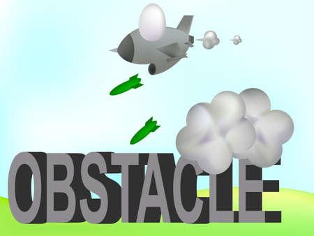 undertake: fighter jet drop bomb destroy obstacle
