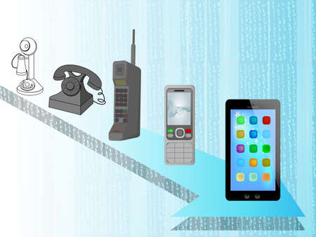 evolution of phone , old and new phone