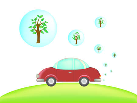 exhausting: ecological car exhausting green tree instead of smoke  Illustration