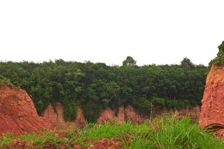 deposits: Gravel deposits cut away through forests .