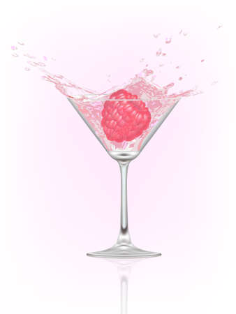glass with water and raspberry. vector illustration