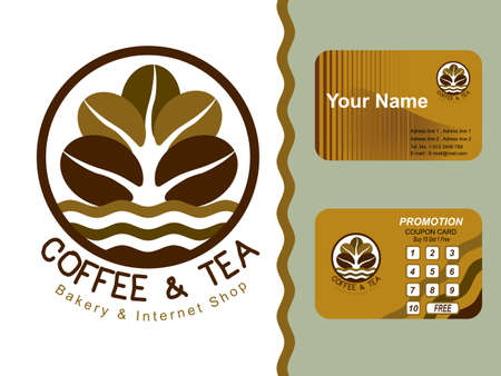 Coffee shop icon and business cards design