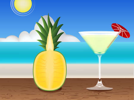 pine apple: Fresh juice on the table and beach   Illustration
