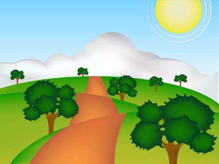 concept cartoon of green earth in sunshine day Vector