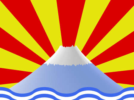 mountain Fuji in Japan on red and yellow background Vector