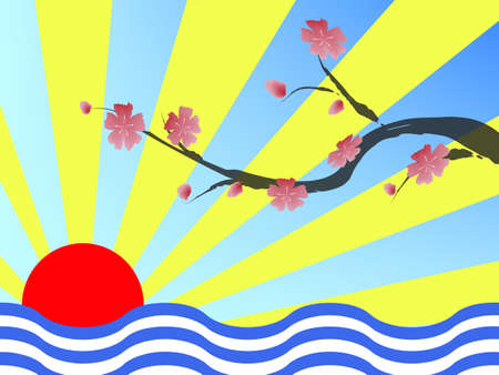 colorful sakura blossom - Japanese cherry tree Vector