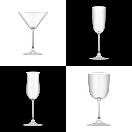 Realistic set of 4 cocktail glass on black & white background Vector